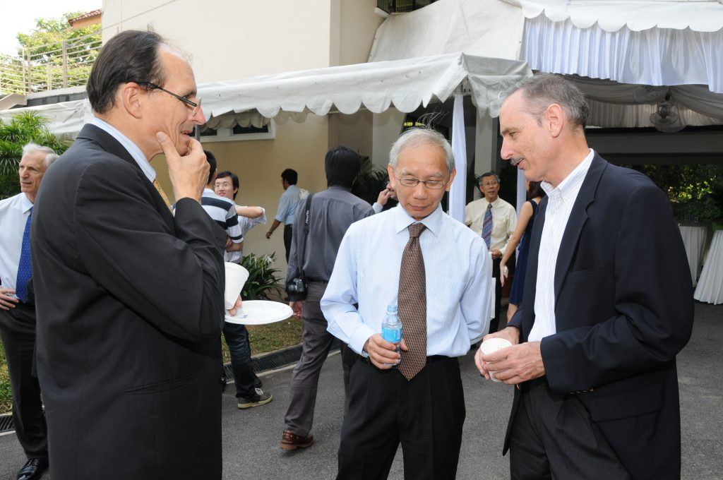 Bouncing ideas for IMS' future? (From left) Olivier PIRONNEAU, CHONG Chi Tat and Hugh WOODIN