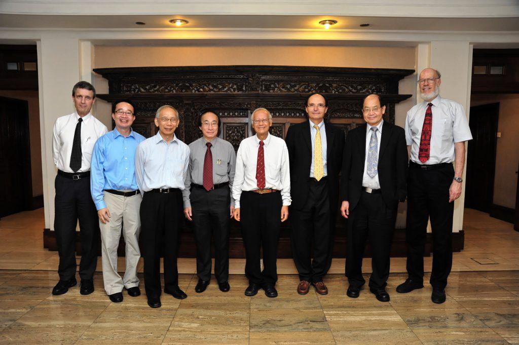 The IMS brain trust, members of the Scientific Advisory Board (SAB): (From left) Roger HOWE (SAB Chair), TAN Ser Peow (IMS Deputy Director), CHONG Chi tat (Management Board Chair), Louis CHEN (IMS Director), LUI Pao Chuen, Olivier PIRONNEAU, Yum-Tong SIU and David SIEGMUND Not in photograph: David MUMFORD