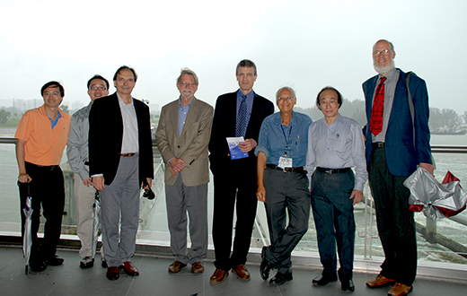 From left - LEUNG Ka Hin, TAN Ser Peow, Olivier PIRONNEAU, David MUMFORD, Roger HOWE, LUI Pao Chuen, Louis CHEN, David SIEGMUND At Marina Barrage on 11 Dec 2008.