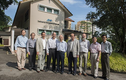From left - TO Wing Keung, Louis CHEN, Douglas N. ARNOLD, Hugh WOODIN, CHONG Chi Tat, Yum-Tong SIU, Wolfgang HACKBUSCH, Jianqing FAN, QUEK Tong Boon At IMS on 14 Aug 2013.