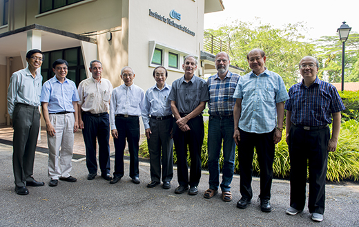From left - QUEK Tong Boon, Jianqing FAN, Douglas N. ARNOLD, CHONG Chi Tat, Louis CHEN, Hugh WOODIN, Wolfgang HACKBUSCH, Yum-Tong SIU, CHOI Kwok Pui At IMS on 14 Jul 2015.