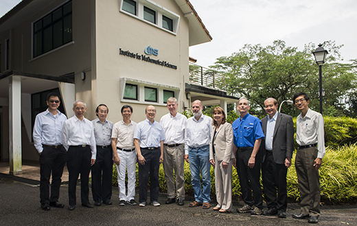From left - LAI Choy Heng, CHONG Chi Tat, Louis CHEN, Fang-hua LIN, CHOI Kwok Pui, Iain JOHNSTONE, Wolfgang HACKBUSCH, Jill PIPHER, Hugh WOODIN, Yum-Tong SIU, QUEK Tong Boon At IMS on 20 Jul 2016.