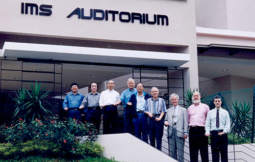 From left - SUN Yeneng, Louis CHEN, CHONG Chi Tat, Hans FÖLLMER, LUI Pao Chuen, Avner FRIEDMAN, Keith MOFFATT, David SIEGMUND, Roger HOWE At IMS on 2003.