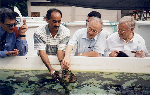 From left - Roger HOWE, Konda REDDY, Avner FRIEDMAN, Denny LEUNG (Background), Hans FÖLLMER At Tropical Marine Science Institute, St John's Island on Dec 2005.