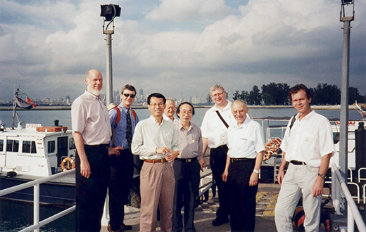 From left - David SIEGMUND, Roger HOWE, Denny LEUNG, Hans FÖLLMER, Louis CHEN, Mike HOLMES, Avner FRIEDMAN, Pavel TKALICH At Tropical Marine Science Institute, St John's Island on Dec 2005.